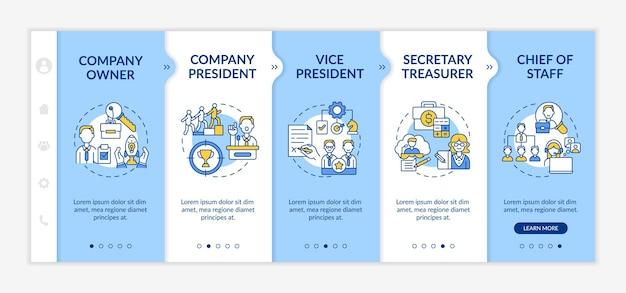 Onboarding-sjabloon voor het topmanagement van het bedrijf. functies van bedrijfseigenaar en president. responsieve mobiele website met pictogrammen. doorloopstapschermen voor webpagina's. rgb-kleurenconcept