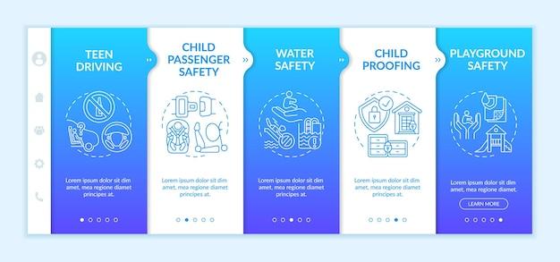 Onboarding-sjabloon voor kinderen. tiener rijden. veiligheid van passagiers van kinderen. kinderbeveiliging. responsieve mobiele website met pictogrammen. doorloopstapschermen voor webpagina's.