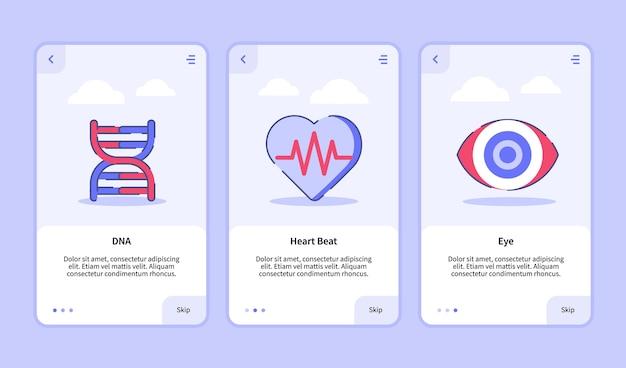 Onboarding-sjabloon voor mobiele apps ontwerp ui voor medisch pictogram-dna