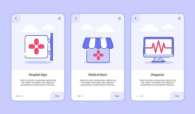 Onboarding-sjabloon voor mobiele apps ontwerp ui voor medisch ziekenhuisbord