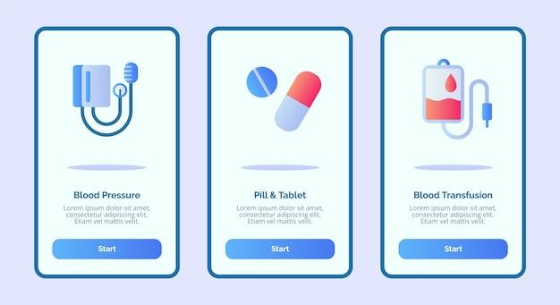 Onboarding-sjabloon voor mobiele apps ontwerp ui voor medische bloeddruk