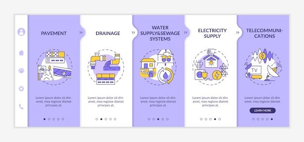 Onboarding-sjabloon voor nutsvoorzieningen en facilitaire diensten. elektriciteitsvoorziening. telecommunicatie. responsieve mobiele website met pictogrammen. doorloopstapschermen voor webpagina's. kleur concept