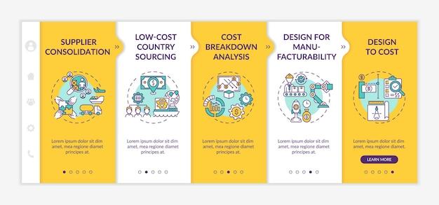 Onboarding-sjabloon voor strategieën voor kostenreductie. consolidatie van leveranciers. ontwerp tegen kosten. responsieve mobiele website met pictogrammen. doorloopstappen voor webpagina's.