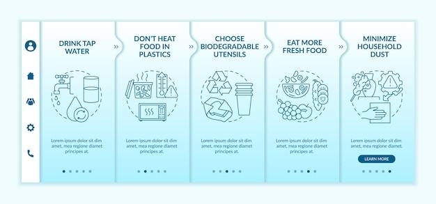 Onboarding-sjabloon voor tips over microplastics vermijden. responsieve mobiele website met pictogrammen