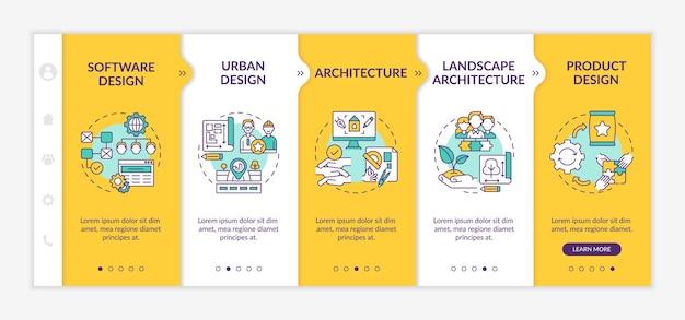 Onboarding-sjabloon voor toepassingsvelden voor gezamenlijk ontwerp. software, stedenbouw. architectuur. responsieve mobiele website met pictogrammen. doorloopstapschermen voor webpagina's. rgb-kleurenconcept