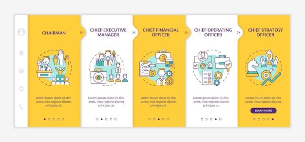 Onboarding-sjabloon voor topmanagementposities. chief executive manager en financieel directeur. responsieve mobiele website met pictogrammen. doorloopstapschermen voor webpagina's. rgb-kleurenconcept