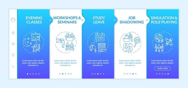 Onboarding-sjabloon voor training en ontwikkeling van werknemers. workshops, seminars. rollenspel. responsieve mobiele website met pictogrammen. doorloopstapschermen voor webpagina's. rgb-kleurenconcept