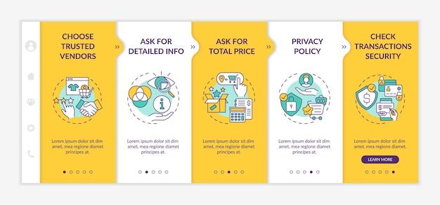 Onboarding-sjabloon voor veiligheidsadviezen voor online winkelen. om gedetailleerde info te vragen. privacybeleid. responsieve mobiele website met pictogrammen. doorloopstapschermen voor webpagina's. kleur concept
