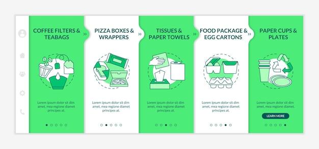 Onboarding-sjabloon voor voedselbedorven papierafval. theezakjes, wikkels. papieren handdoeken. voedselpakket. responsieve mobiele website met pictogrammen. doorloopstapschermen voor webpagina's. rgb-kleurenconcept