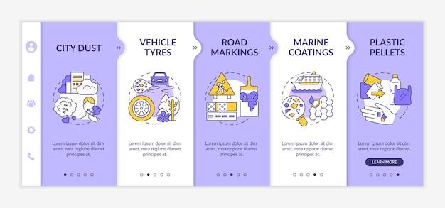 Onboardingsjabloon voor microplastics bronnen. responsieve mobiele website met pictogrammen