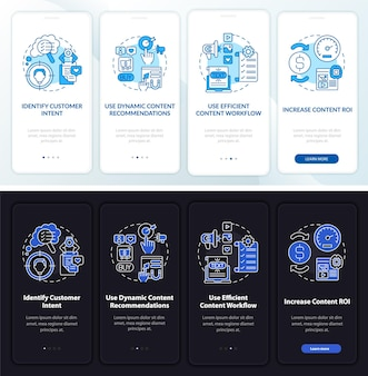 Onboardingsjabloon voor slimme inhoudstips. responsieve mobiele website met pictogrammen