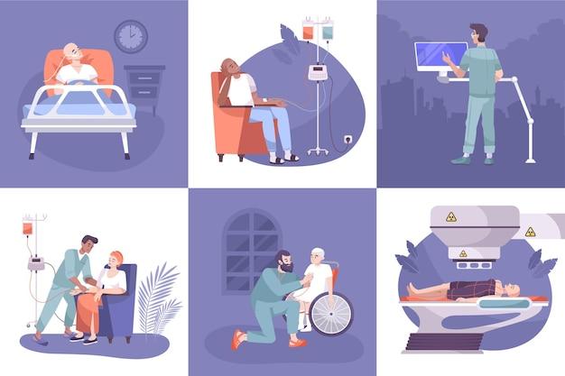 Oncologie diagnostische tests kanker radiotherapie chemotherapie behandeling verpleging postoperatieve zorg concept 6 platte composities illustratie