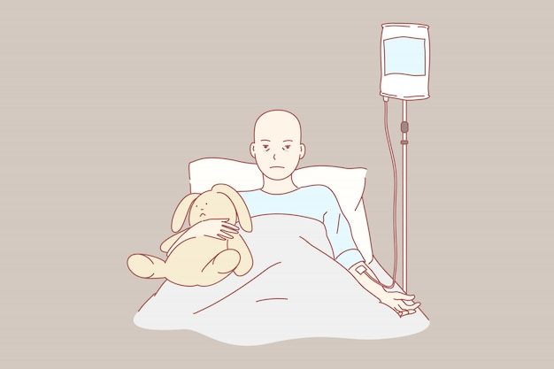Oncologie, zorg, jeugd, kliniek, gezondheid illustratie