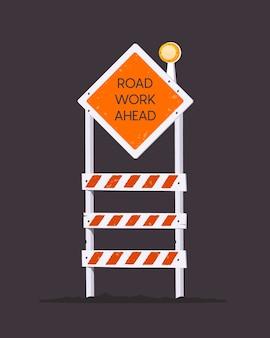 Onder constructie barrière. wegwerkzaamheden verderop. barrière waarschuwingspictogram.