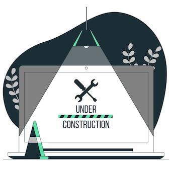 Onder constructie concept illustratie