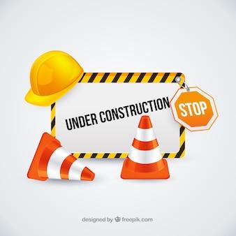 Onder constructie teken met verkeerskegels