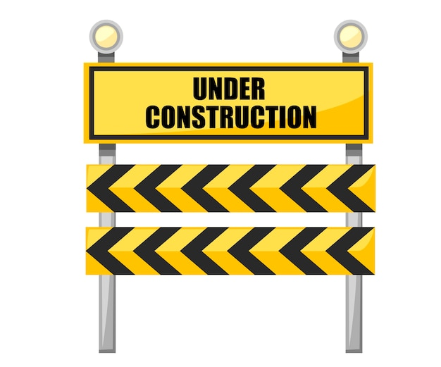 Onder constructie verkeersbord. geel verkeersbord met gloeilamp.