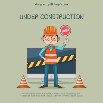Onder constructie websjabloon in vlakke stijl
