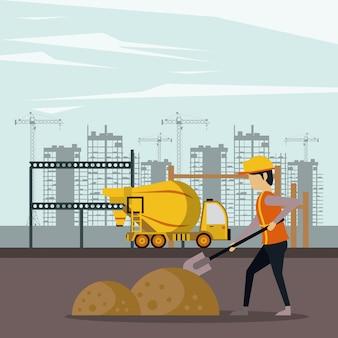 Onder constructie zone met werknemers