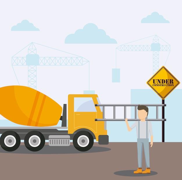 Onder constructiebetonwagen en arbeider