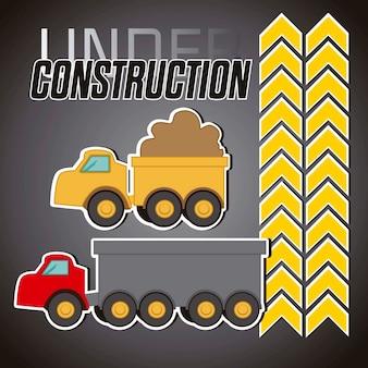 Onder constrution rode vrachtwagen en gele vrachtwagen