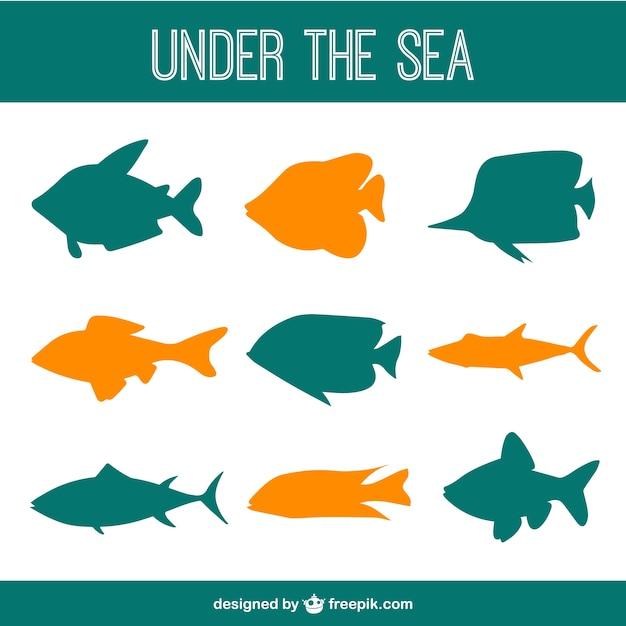 Onder de zee vissen vector silhouetten