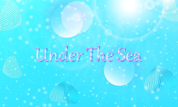 Onder de zee. zeemeermin patroon. abstracte achtergrond. cartoon-vector. blauwe kleur.