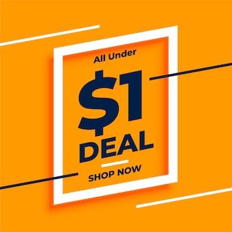 Onder dollar één deals en verkoopbanner