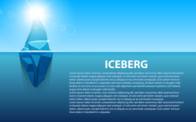 Onder water antarctische oceaanijsberg.
