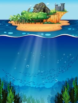 Onder water en eiland