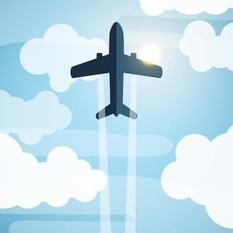 Onderaanzicht van vliegtuig dat in de blauwe lucht en de wolken onder de zon vliegt