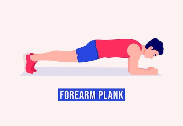 Onderarm plank oefening mannen workout fitness aerobic en oefeningen