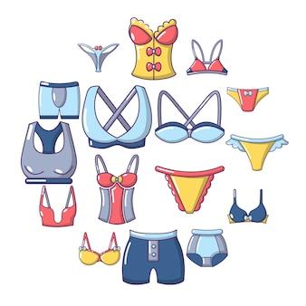 Ondergoed typen iconen set, cartoon stijl