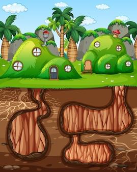 Ondergronds dierenhol met grondoppervlak van de tuinscène