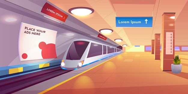 Ondergronds interieur met kaart- en advertentiebanners.