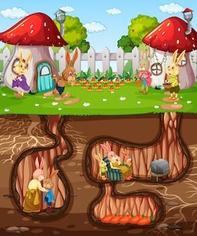 Ondergronds konijnenhol met grondoppervlak van de tuinscène