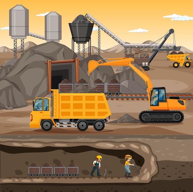 Ondergronds landschap van kolenwinning