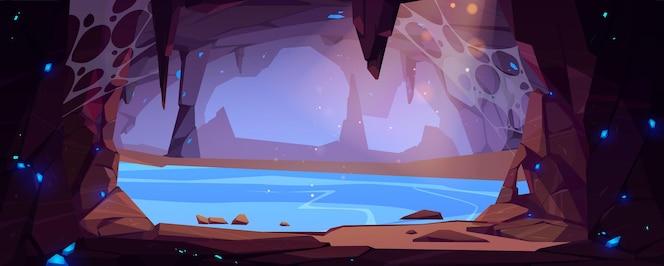 Ondergrondse grot met water en blauwe kristallen