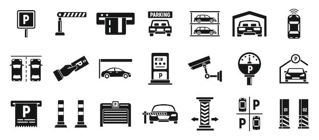 Ondergrondse parking iconen set, eenvoudige stijl
