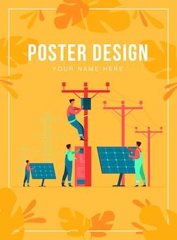 Onderhoud van zonne-energiecentrales. nutsarbeiders die elektrische installaties repareren, dozen op torens onder hoogspanningsleidingen. voor de werking van het elektrische netwerk, stadsdienst, onderwerpen over hernieuwbare energie