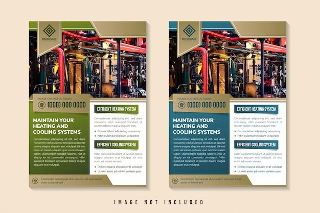 Onderhoud verwarmings- en koelsystemen flyer ontwerpsjabloon gebruik verticale lay-out fotoruimte