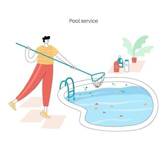 Onderhoud zwembad. vectorillustratie van man schokken en algicide het zwembad