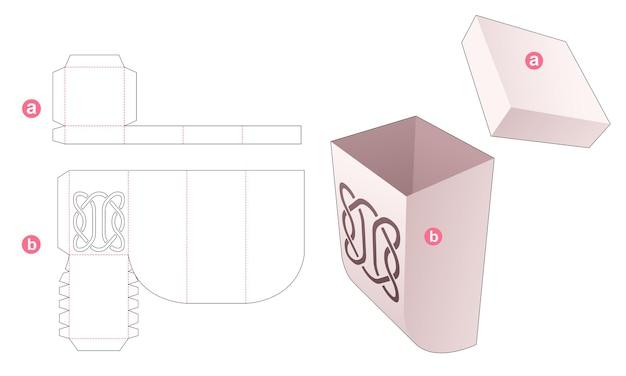 Onderkant afgeschuinde doos en deksel met gestencilde lijn gestanst sjabloon