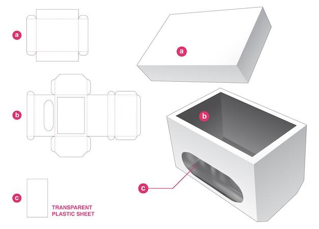 Onderkant afgeschuinde doos en venster met doorzichtige plastic plaat gestanst sjabloon