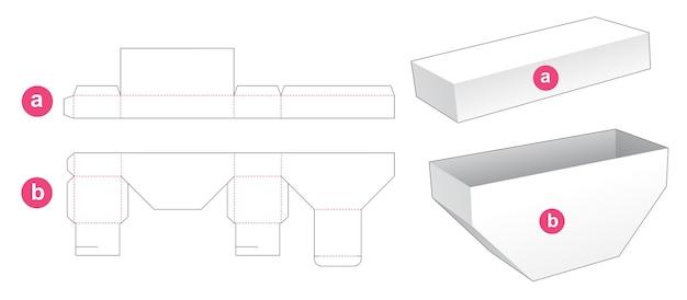 Onderkant afgeschuinde doos met gestanste sjabloon in deksel