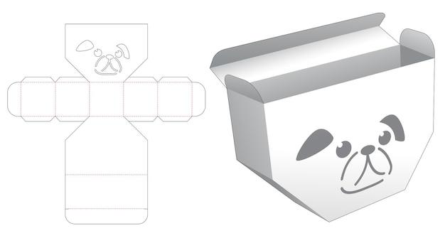 Onderkant afgeschuinde doos met gestanste sjabloon voor hondensjabloon