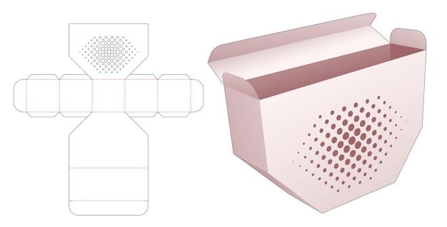 Onderkant afgeschuinde doos met gestencilde halftoonstippen gestanst sjabloon