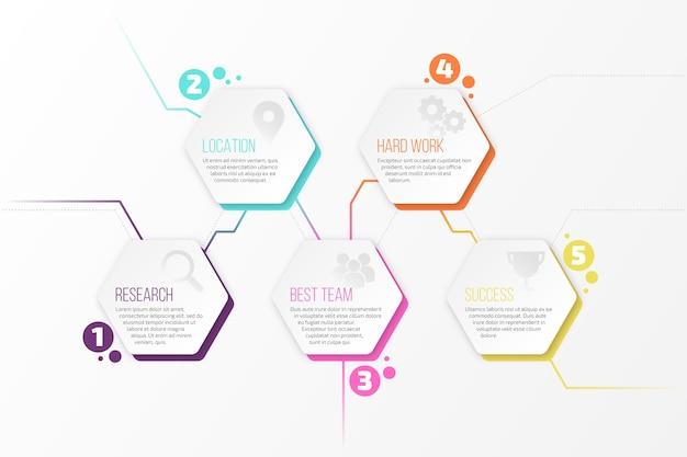 Onderling verbonden honingraat met infographic stappen