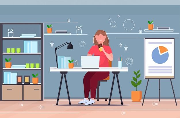 Onderneemster die chocolade te zware meisjeszitting eten bij bureau met laptop ongezonde voeding zwaarlijvigheidsconcept modern bureau binnenlandse vlakke volledige lengte horizontaal