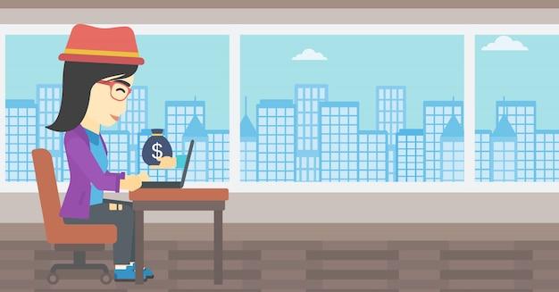 Onderneemster die geld van online zaken verdient.